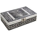 Bois souvenir Bijou Boîte de rangement Organisateur fabriqués à la main avec une feuille de velours & Interiors métal estampé