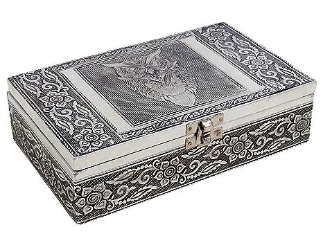Organizador de la joyería cajas de joyas de almacenaje antiguos Artesanal de madera con búho en