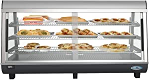 "KoolMore Commercial 48"" NSF Countertop Food Warmer Display Case Merchandiser with LED Lighting and Front Sliding Door - 6.5 cu.ft."