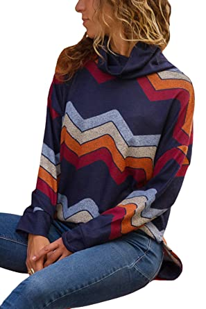 7c8f0532abcd HOTAPEI Womens Cowl Neck Striped Long Sleeve Casual Pullover Shirts Loose  Asymmetric Tunic Tops at Amazon Women s Clothing store