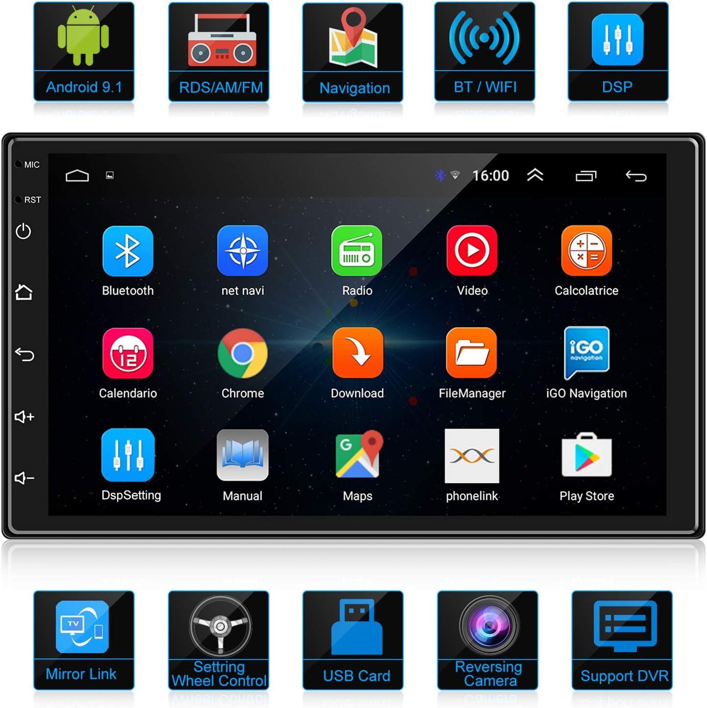 ANKEWAY 2020 Nuevo 2 DIN Android 9.1 DSP/RDS/AM/FM Radio del Coche Navegación GPS 7 Pulgadas 1080P HD Pantalla Táctil +WiFi Internet Multimedia+Bluetooth Manos Libres+Micrófono+Cámara de marcha atrás