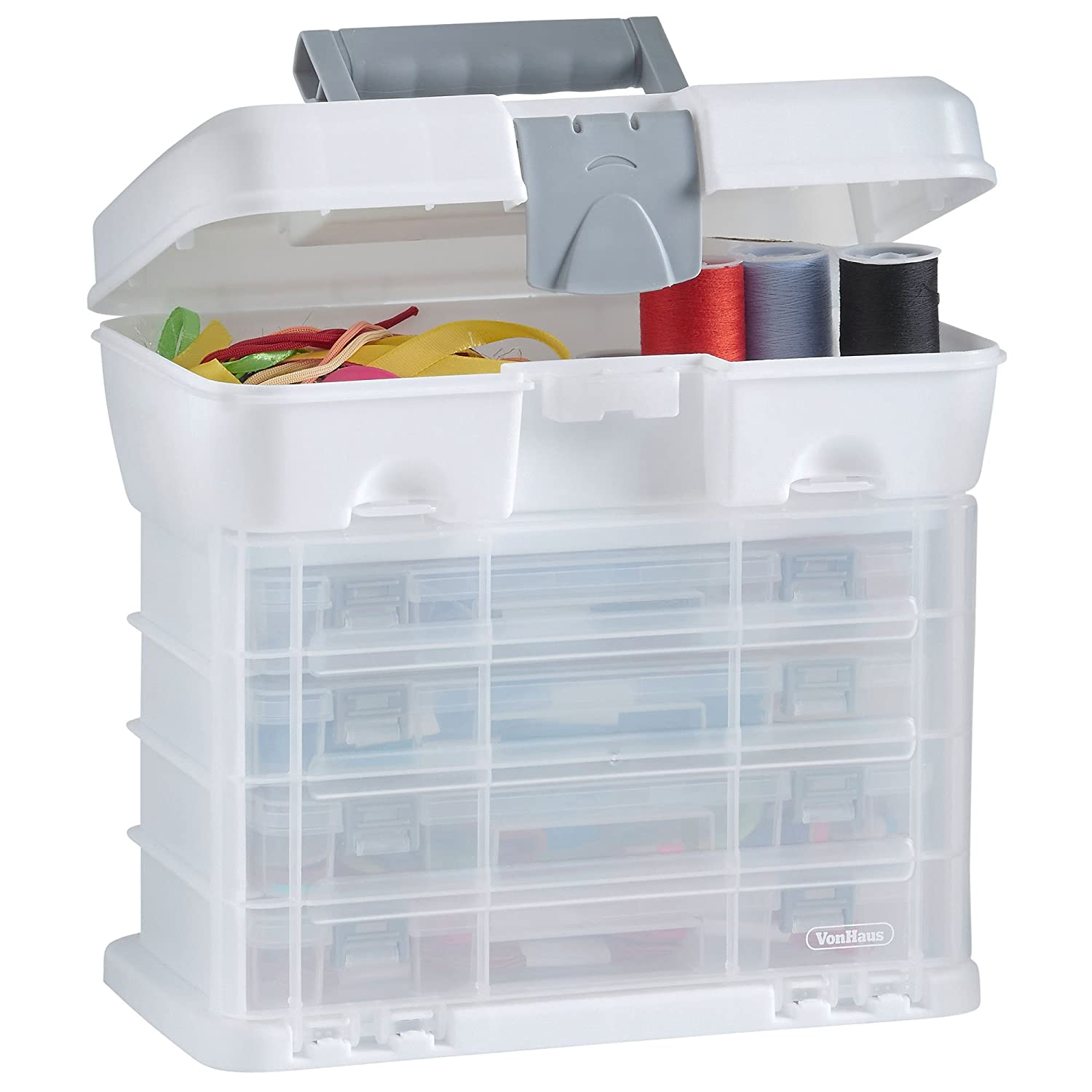 VonHaus Storage Organiser Carry Case with 4 Clear Drawers ...