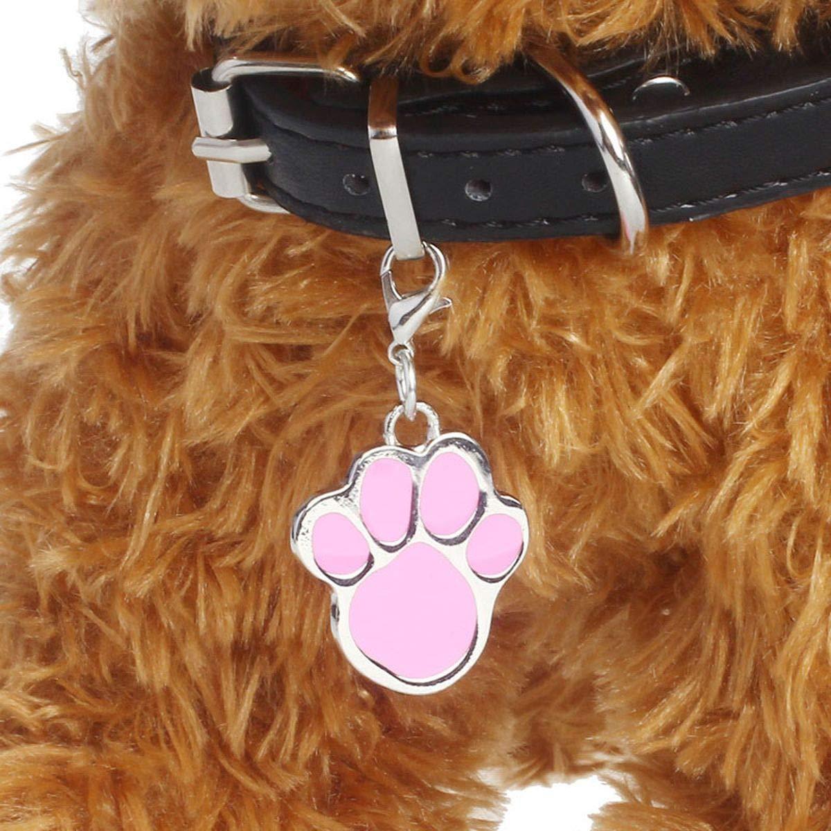 Meiliwanju Dog Pendant, Pet Dog Puppy Paw Print Metal Footprint Animal Pendant Charm Necklace LovelyPet Jewelry (Pink, One Size)