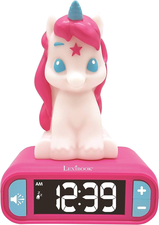LEXIBOOK Reloj Despertador del Unicornio, Pantalla LCD Digital y luz de Noche integrada, quitamiedos niña-RL800UNI, Color Rosa (RL800UNI)