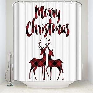 Libaoge Red Black Buffalo Check Plaid Christmas Reindeer Merry Christmas Soap Free Waterproof Polyester Fabric Bathroom White Shower Curtain (72x72, Xmas Elk