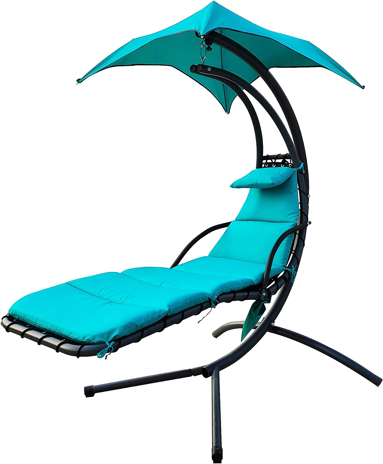 BalanceFrom Hanging Curved Chaise Lounge Chair Swing with Cushion, Pillow, Canopy, Stand and Storage Pouch, 330-Pound Capacity, Aqua : Sports & Outdoors