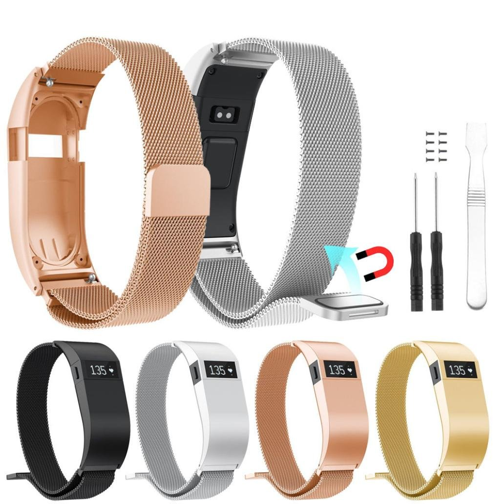 PrettyW For Fitbit Charge HR Bands with Case, Milanese Magnetic Clasp Stainless Steel Replacement Wristband Band Strap with Case For Fitbit Charge HR (Pack of 4)
