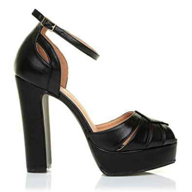 43d20f65ec67 Morgan Black PU Leather Platform Peep Toe Block Heel Ankle Strap Party Shoes   Amazon.co.uk  Shoes   Bags