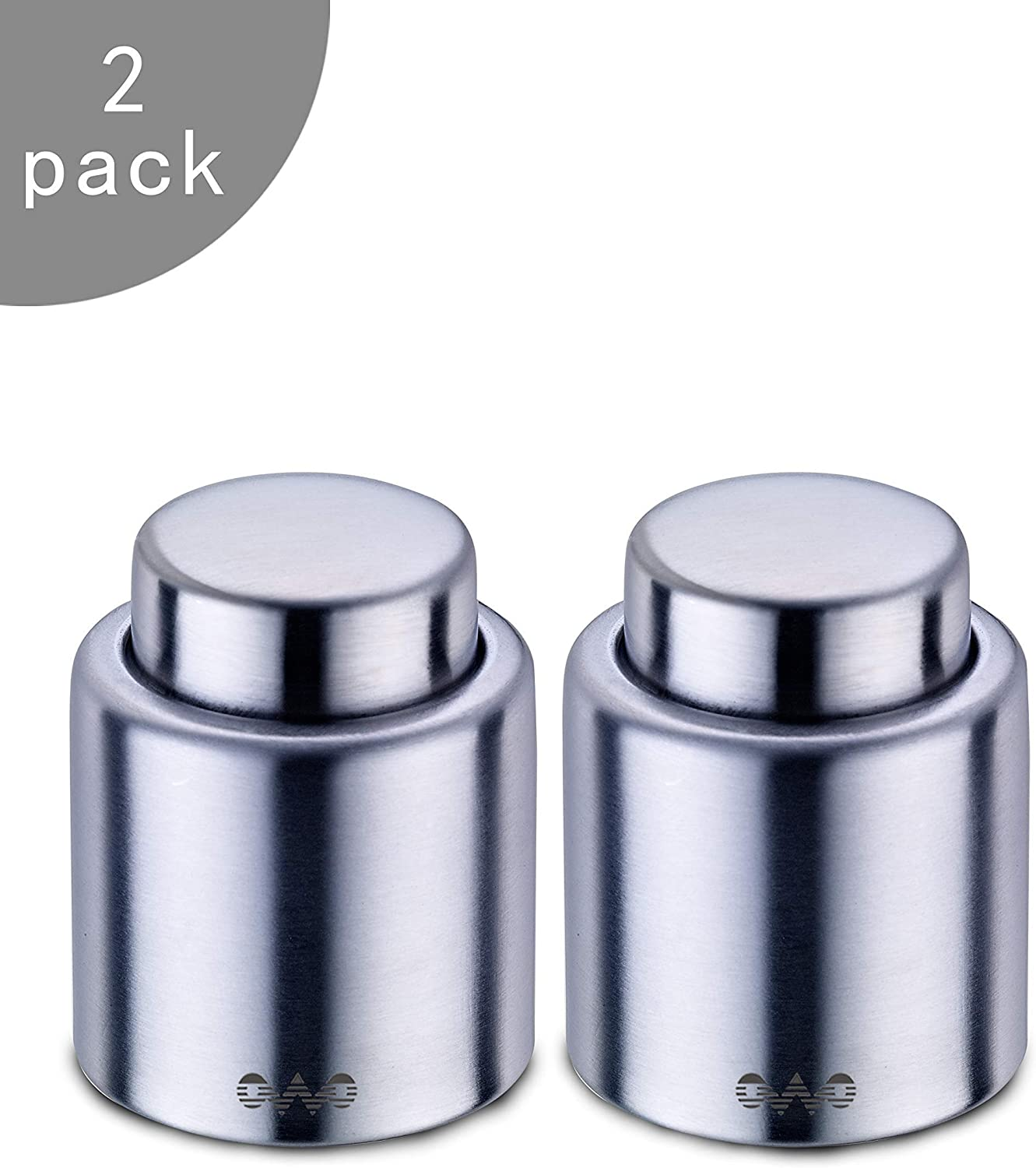 OWO Wine Stopper with Stainless Steel, Decorative Wine Saver Vacuum Plug with Food Grade Silicone, Reusable Bottle Sealer Keeps Wine Fresh, Best Labor Day Gift (2pack set)