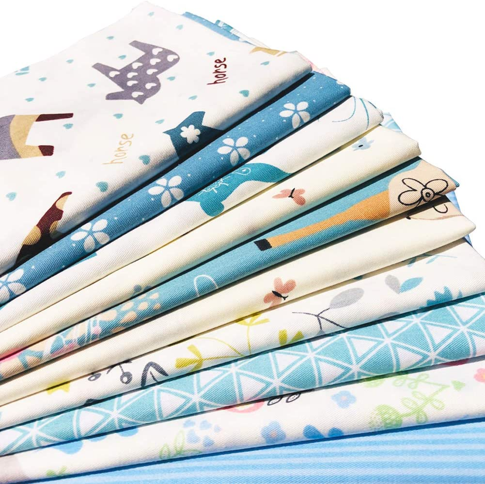flic-flac 20 x 20 inches 10pcs, Blue Fat Quarter Natural Cotton Quilting Fabric Thick Craft Printed Fabric High Density Bundle Squares Patchwork Lint DIY Sewing 51cmx51cm