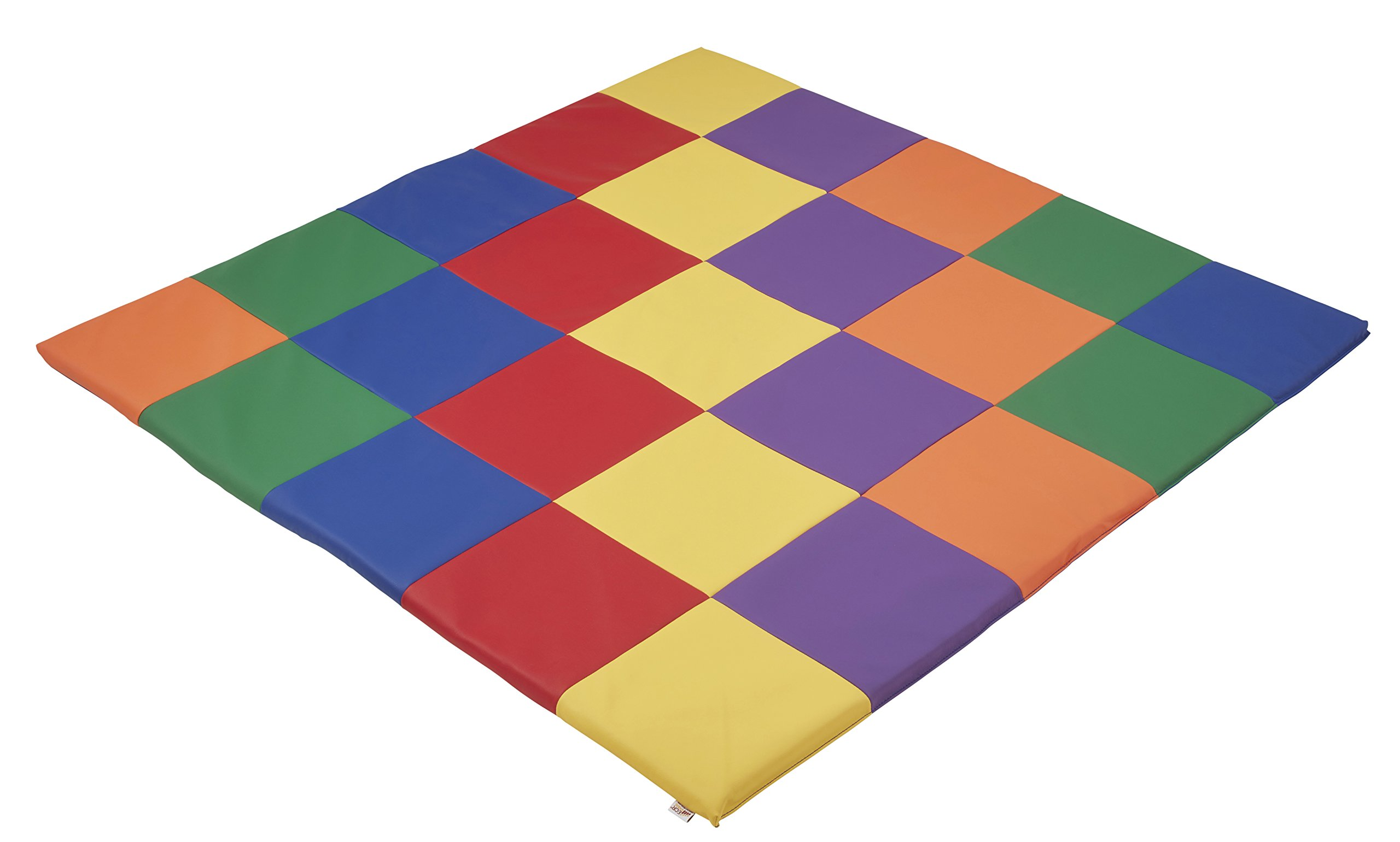 ECR4Kids Softzone Patchwork Toddler Foam Play Mat, 58'' Square, Primary