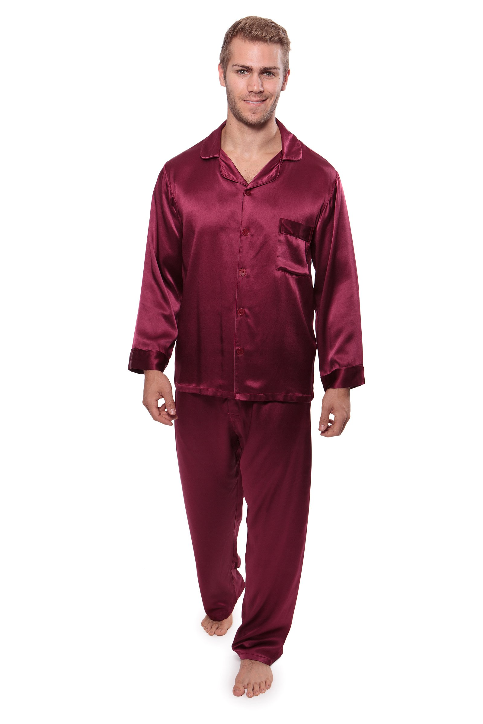 Men's Silk Pajamas - Luxury Silk Nightwear Pajama Set for Men - Sleepwear PJs (Burgundy, Large) Best Xmas Gift for Him