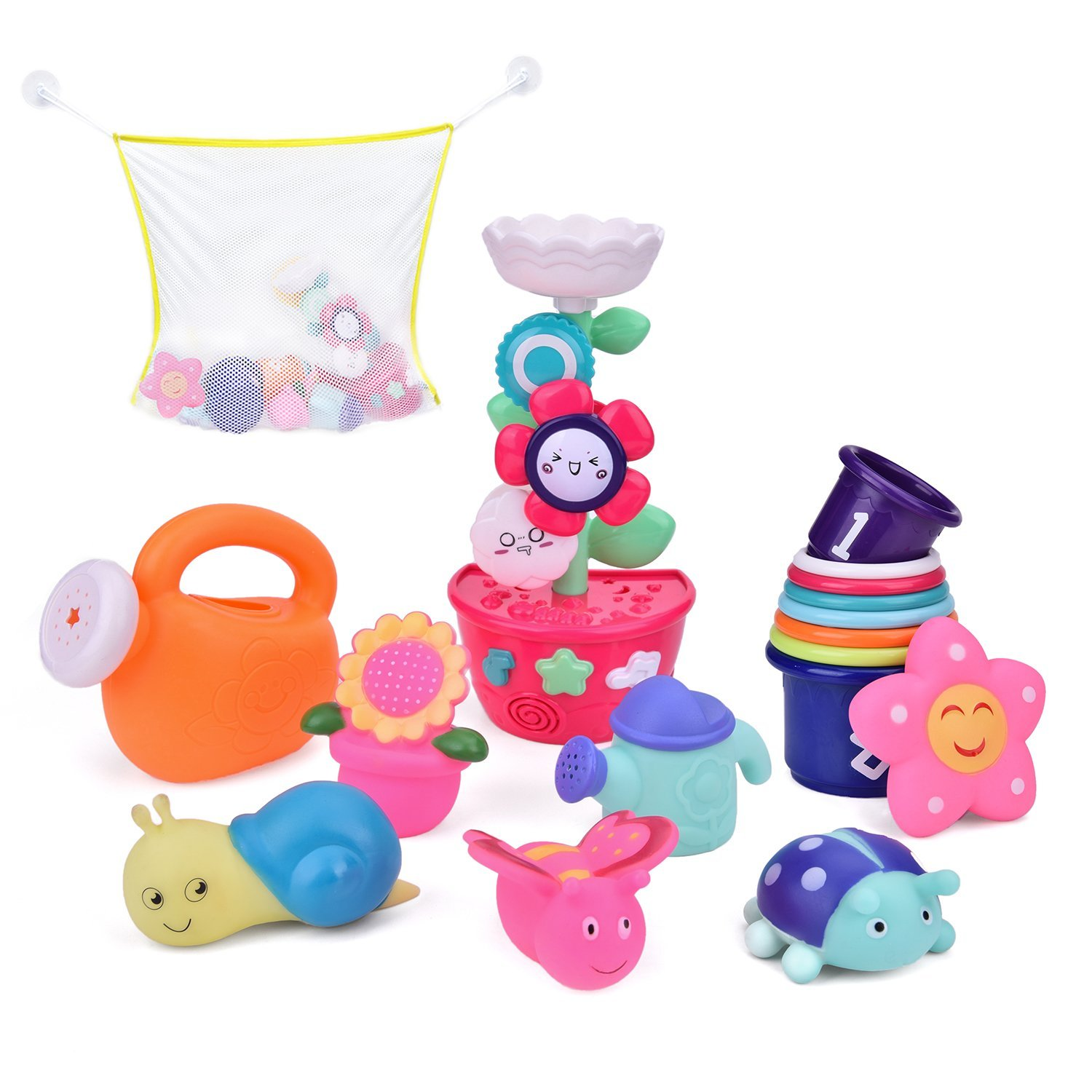 17 PCs Bath Toys for Toddlers, Flower Waterfall Water Station with Garden Squirter Toys, Stacking Cups and Watering Can, Bath Toy Organizer Included
