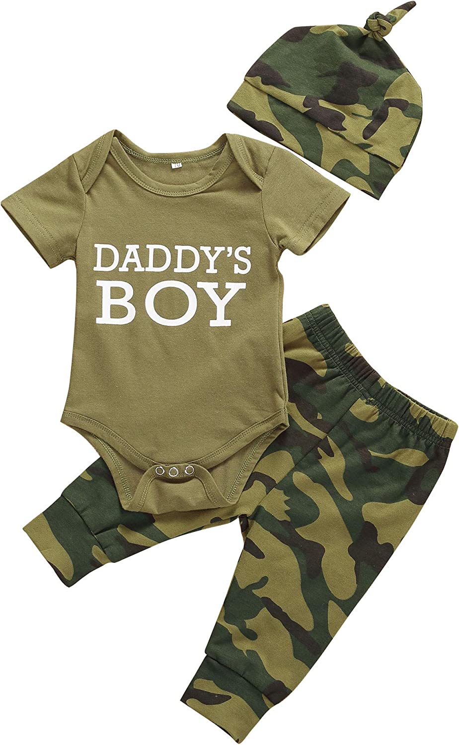 Daddys Baby Boys Girls 3PCS Outfit Set Romper Camouflage Pants with Hat