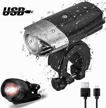 Sistema de luz de la Bici, WONTECHMI Luces de la Bici de LED Delante y detrás, Recargable por USB. Luces Estupendas de la Bicicleta, linterna de la Bici, IP65 Impermeable, incluye luz