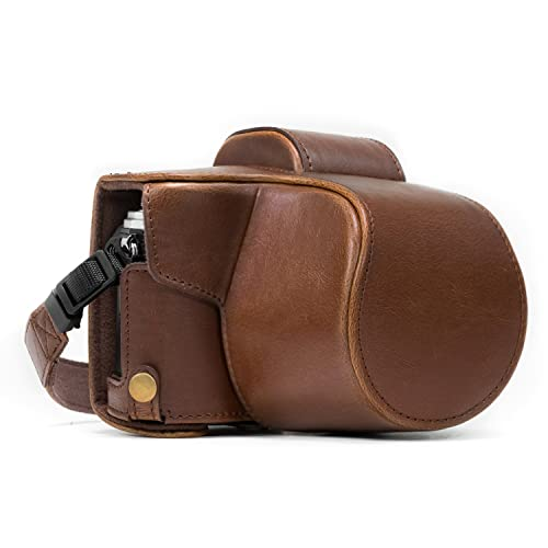 MegaGear MG368 Olympus OM-D E-M10 Mark II, E-M10 (14-42mm) Ever Ready Leather Camera Case and Strap - Dark Brown