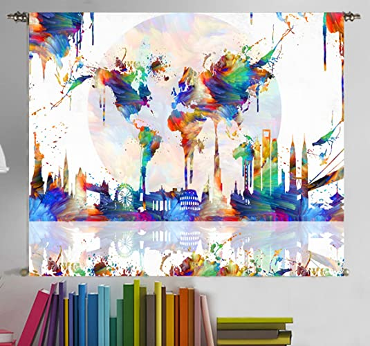 Amazon world map poster tapestry wall hanging large canvas world map poster tapestry wall hanging large canvas wall art print painting home decor for kids gumiabroncs Gallery