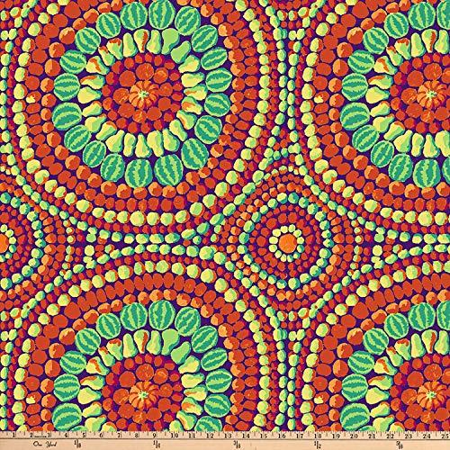 FreeSpirit Fabrics Kaffe Fassett 108'' Quilt Backs Fruit Mandala Fabric, Red, Fabric By The Yard (Suzani Quilt)