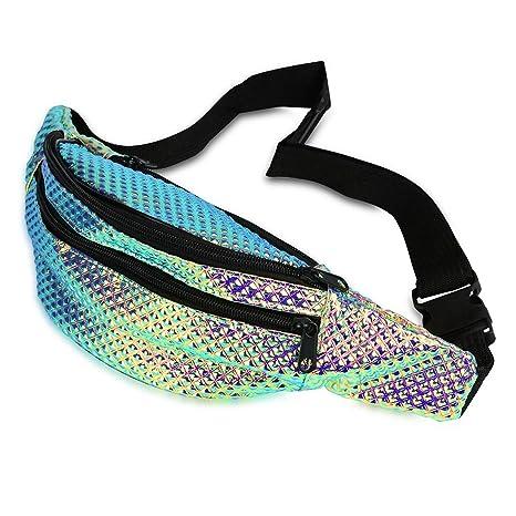 8b16e84df8ee FACE1ST Multicolored Hologram Waist Bum Bag Mermaid Unicorn Style Fanny  Pack - Assorted Colors (Fairy Dust)