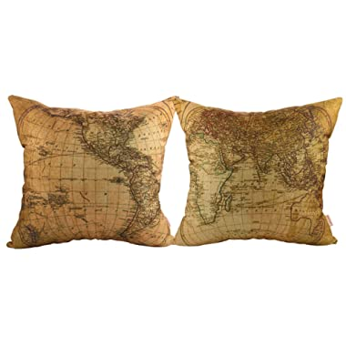 Luxbon- World Map Pattern Cotton Linen Throw Pillow Cases Cushion Covers 18 x 18 /45X45CM Insert Not Included, Set of 2