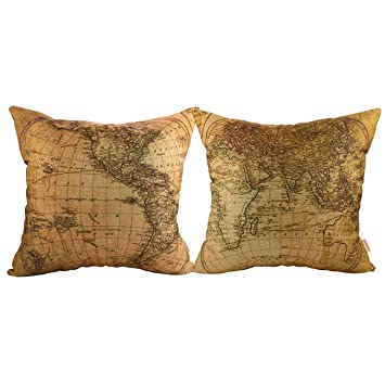 Luxbon Set of 2Pcs Geography Theme World Map Decor Throw Pillow Cases Nautical Decor Pillow Covers Cotton Linen Sofa Couch Chair Decorative Cushion ...