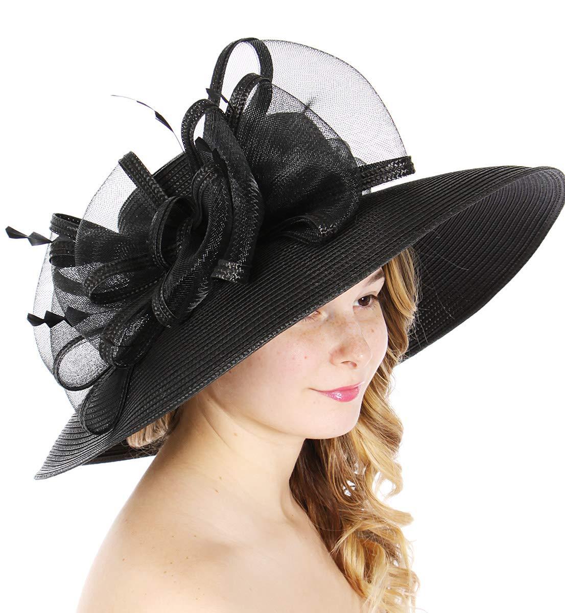 Women Kentucky Derby Church Dress Fascinator Wedding Hat, Big Bow, Black