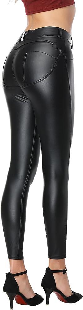 RIER Women Faux Leather Pants PU Sexy