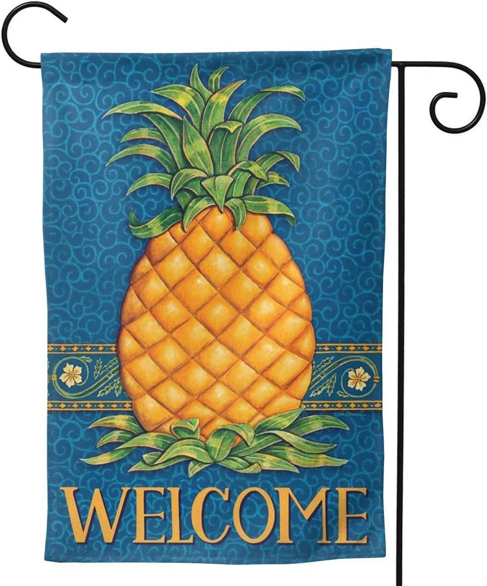 Fallake Pineapple Welcome Garden Flag Double Sided Premium Fabric Outdoor Decoration Yard Lawn Banner Garden Flower Pot Decor 12.5 X18 Inch