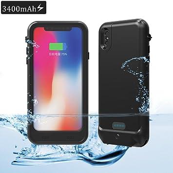Funda Batería iPhone X Carcasa BINKEN 3400mAh Cargador Batería Externa Recargable A Prueba de Golpes & Agua, Carcasa Protectora Impermeable para ...
