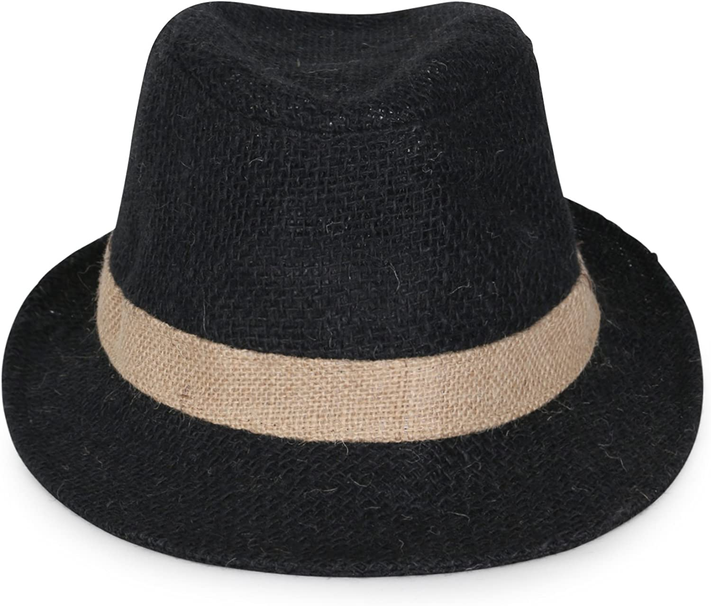 ililily Big Size Two-Tone Small Brim Structured Trilby Straw Fedora Braid Panama Hat