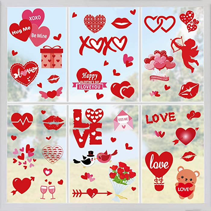 Tifeson Valentine's Day Heart Window Clings Decorations - 4 Sheets Removable Vinyl Window Sticker Decals for Home, Office - Valentines Party, Wedding, Anniversary Decorations