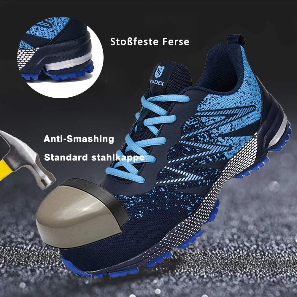 SUADEEX Arbeitsschuhe Sicherheitsschuhe Herren Reflektierend Leicht Atmungsaktiv Schutzschuhe Stahlkappe Schuhe Anti-Smashing Anti-Piercing