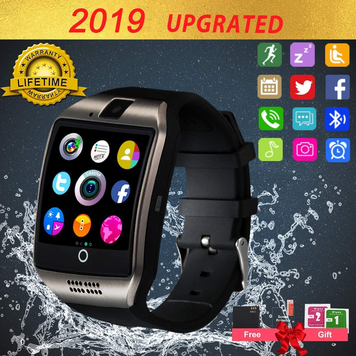 Smart Watch,Smartwatch for Android Phones, Smart Watches Touchscreen with Camera Bluetooth Watch Phone with SIM Card Slot Watch Cell Phone Compatible Android Samsung iOS Phone XS X8 7 6 5 Women Men