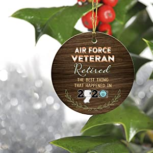 "FamilyGift First Retired Christmas 2020 Ornament- Air Force Veteran Retired The Best Thing That Happened in 2020 - Keepsake Man Woman Office Company Job Retirement Party 3"" Round Ornament"