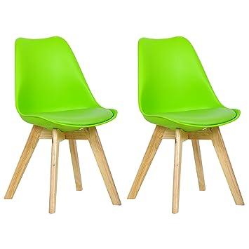 WOLTU BH29gn 2 2 X Esszimmerstühle 2er Set Esszimmerstuhl Design Stuhl  Küchenstuhl Holz, Neu