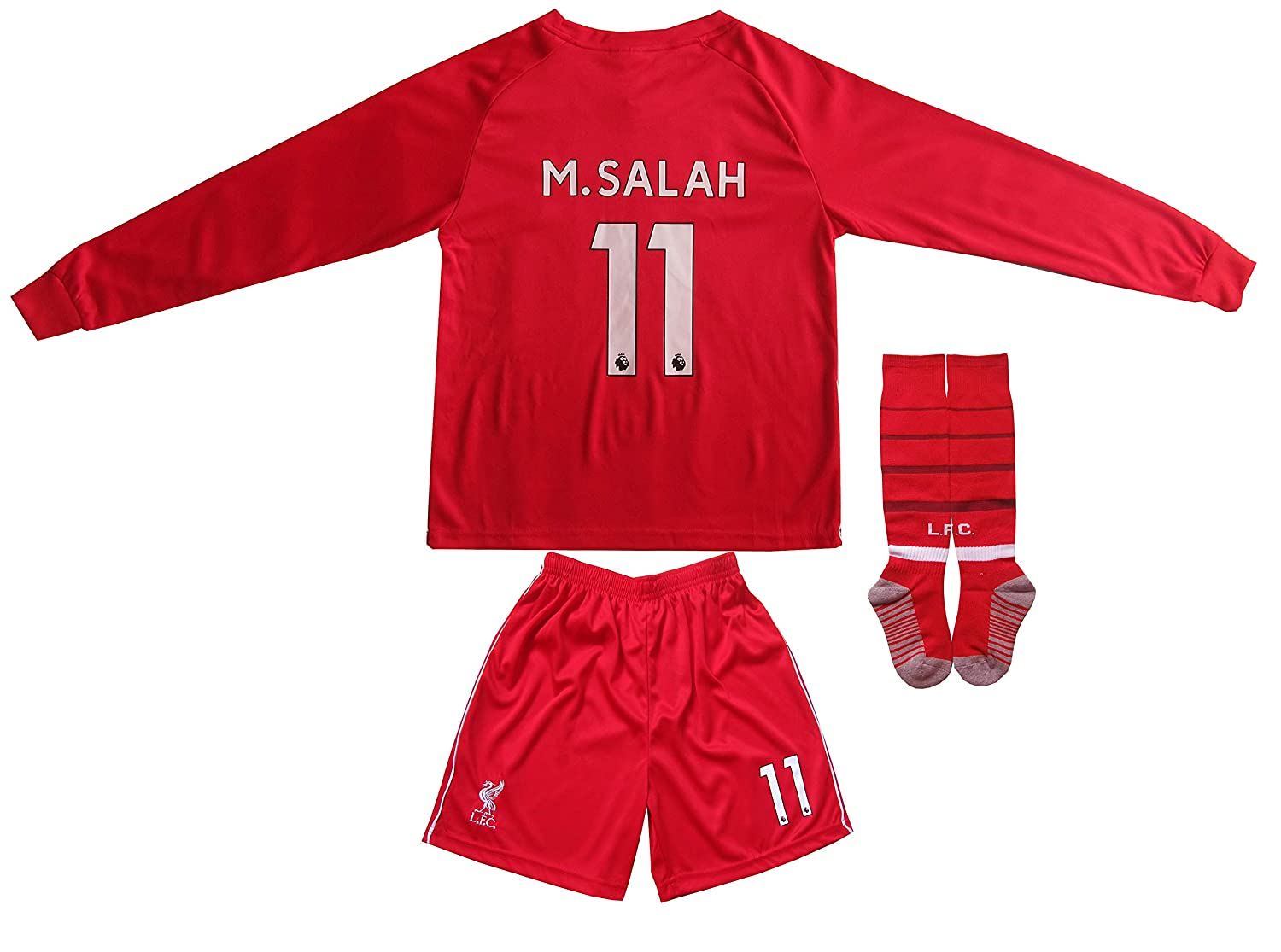 2f699379586 Amazon.com   LES TRICOT 2018 2019 Liverpool Home  11 Salah Football Futbol  Long Sleeve Soccer Kids Jersey Shorts Socks Set Youth Sizes (12-13 Years)  ...