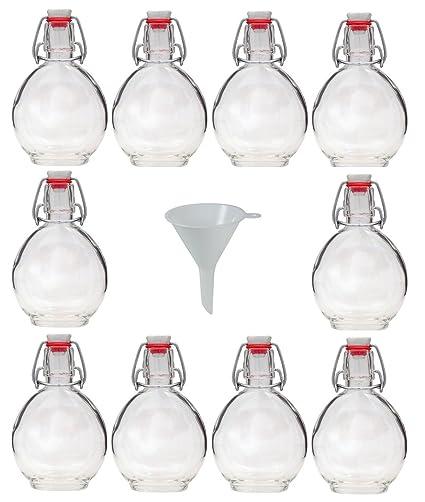 Viva Haushaltswaren 19146 - Botellas de Cristal (10 Unidades 200 ML tapón mecánico rellenables Incluye