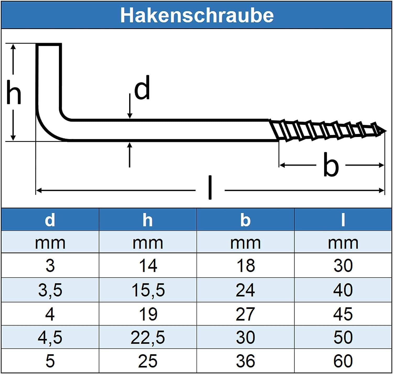 Eisenwaren2000 20 St/ück mit Holzgewinde Edelstahl A2 V2A - Schraubhaken gerade Ausf/ührung rostfrei 3 x 30 mm Haken-Schraube
