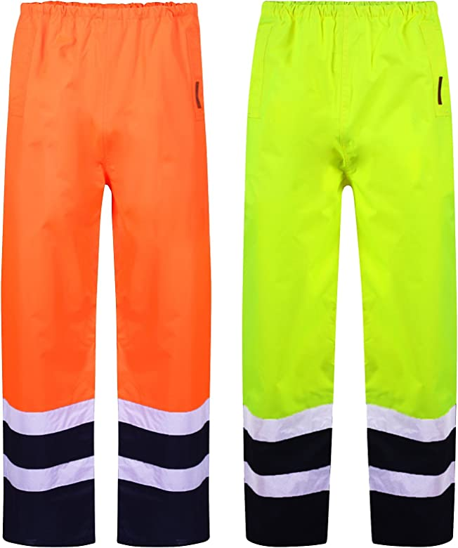 HI VIS Trouser Yellow Orange Workwear Trouser with Reflector Tapes Visibility