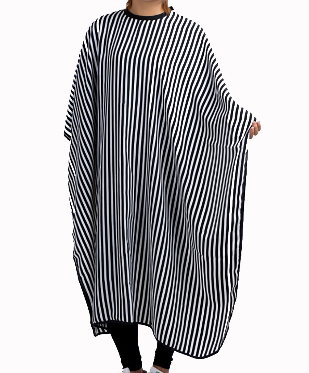 Driewbeauty Haircut Cape Hairdressing Gown Cape with Stripe Pattern Hair Salon Cape Wrap Shawl Styling Tool