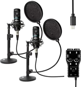 Movo Smartphone Podcast Recording Bundle Kit with 2 Pack Condenser Microphones, 2 Desktop Mic Stands, 2 Pop Filters, & 2-Channel XLR Interface with Lightning Output Compatible with iPhone, iPad, iOS