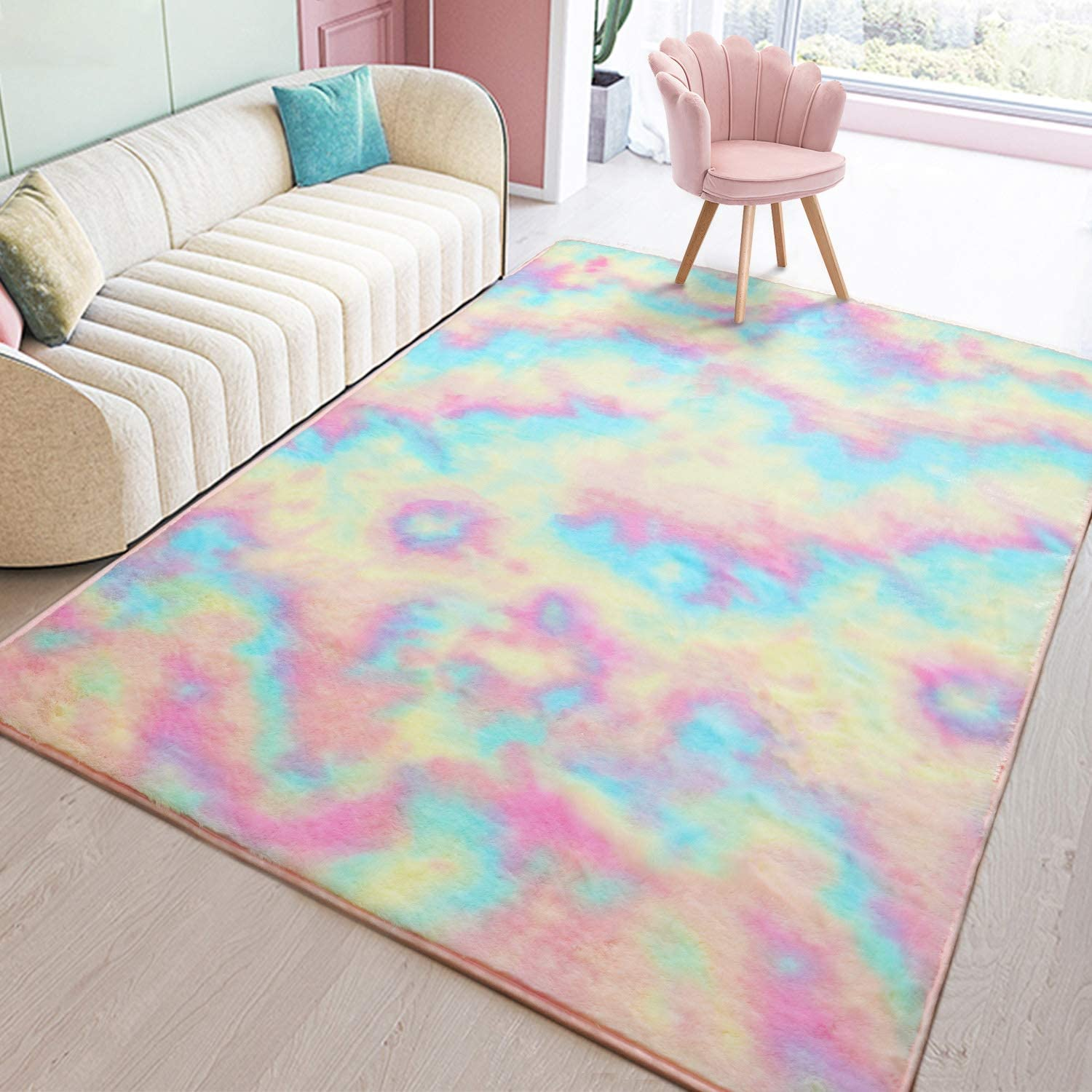Toneed Soft Rainbow Rug for Girls Room - 3 x 5 Feet Fuzzy Cute Colorful Area Rugs for Kid Bedroom Nursery Home Decor Floor Carpet