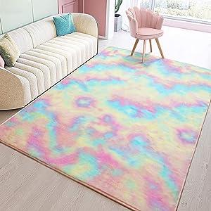 Toneed Soft Rainbow Rug for Girls Room - 5 x 8 Feet Fuzzy Cute Colorful Area Rugs for Kid Bedroom Nursery Home Decor Floor Carpet