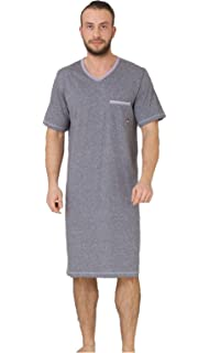 b7b67b25af M-Max Mens Night Shirt Nightshirt Nightwear Sleepwear Cotton Hospital Stay