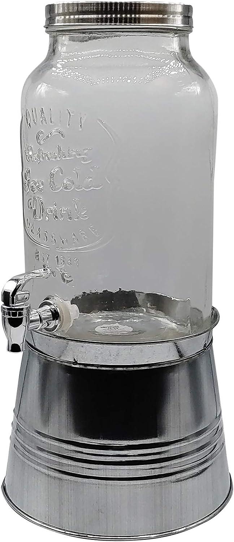 Mason Jar Glass Drink Dispenser with Spigot - 1.5 Gallon Glass Beverage Dispenser Stand Metal Ice Bucket
