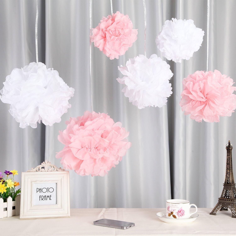 Geburtstag Taufe M/ädchen Party,Kommunion,Valentinstag Muttertag JGA Deko wei/ß rosa 24er Rosa Deko Seidenpapier Pompons f/ür Hochzeit