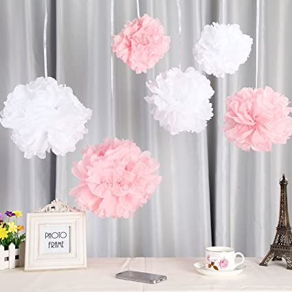Amazon.com: Fonder Mols 12pcs Mixed 3 Sizes White Pink Tissue Paper ...