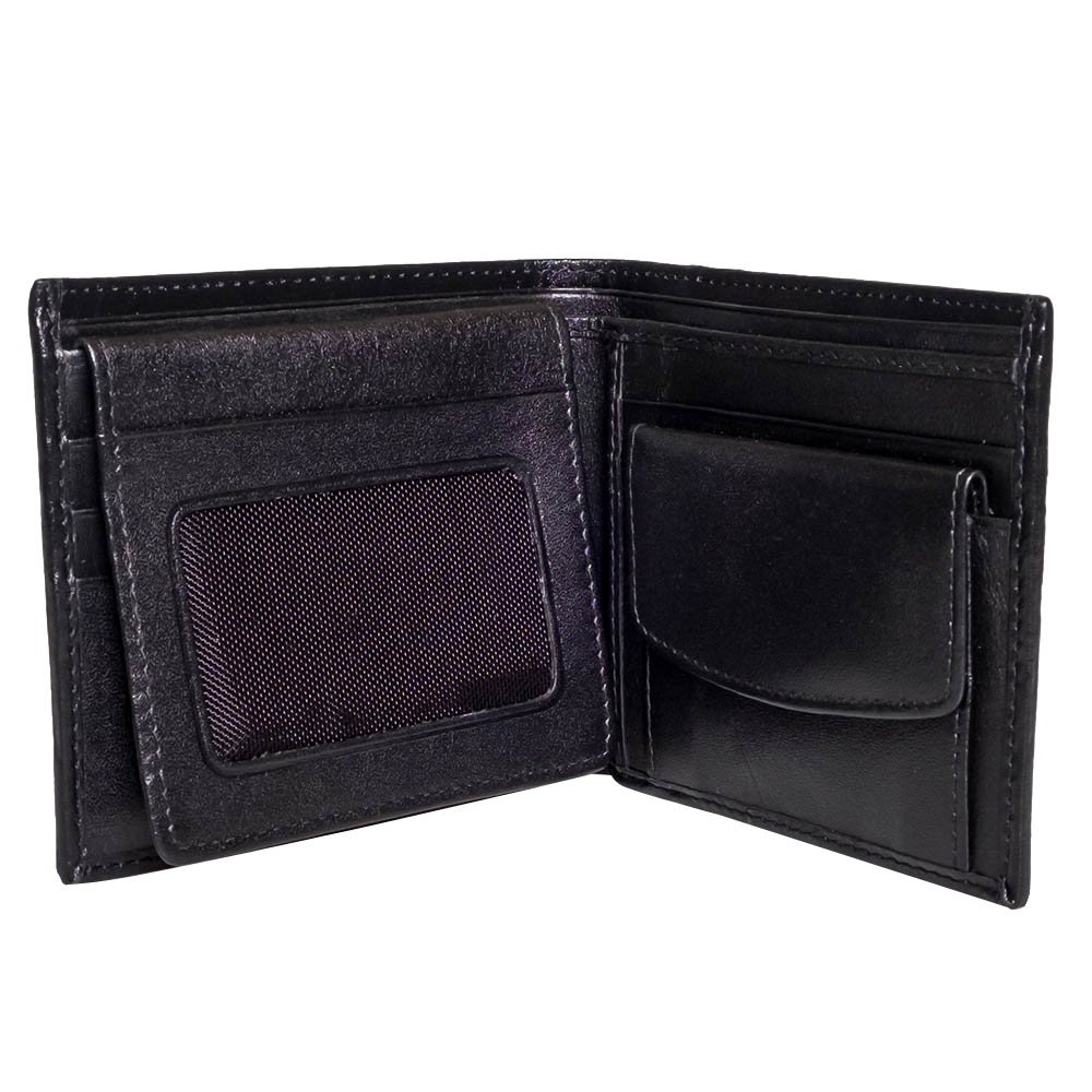Genuine Stingray Leather Credit Card Bifold Wallet With Coin Purse Black 2 Pearls