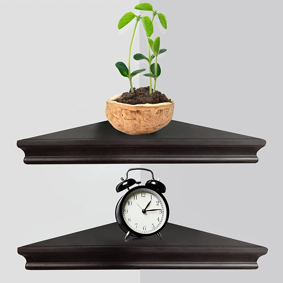 Greenco Set of 2 Corner Floating Shelves with Concealed Hardware- Espresso Finish