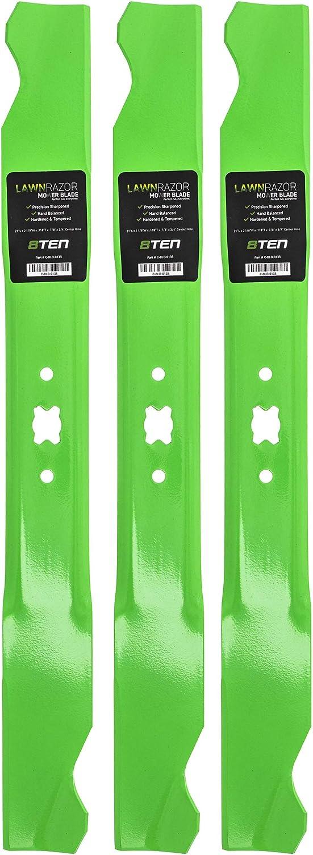 8TEN LawnRAZOR Hi Lift Blade 21 inch Deck for MTD Cub Cadet Troy-Bilt SC100 Tuff-Cut 220 742-0641 942-0641 3 Pack